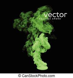 ベクトル, 緑, イラスト, 煙
