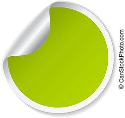 ベクトル, 緑, ステッカー