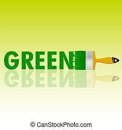 ベクトル, 緑, ブラシ, イラスト