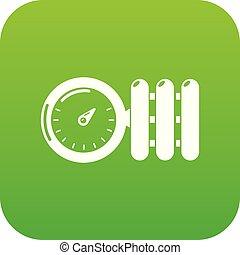 ベクトル, 緑, 圧力計, アイコン