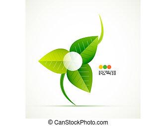 ベクトル, 緑, 概念, 葉