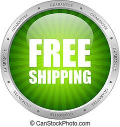 ベクトル, 緑, 無料で, 出荷, アイコン