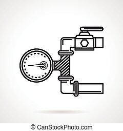 ベクトル, 線, 圧力計, 黒, アイコン
