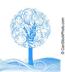 ベクトル, 美しい, 冬の 木, デザイン