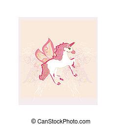 ベクトル, 美しい, unicorn., イラスト