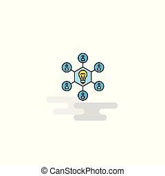 ベクトル, 考え, icon., 分け前, 平ら