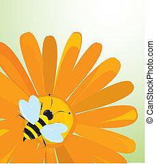 ベクトル, 背景, ∥で∥, 花, そして, 蜂