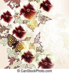 ベクトル, 背景, グランジ, 花