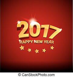 ベクトル, 背景, 年, 新しい, 2017, 幸せ