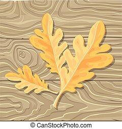 ベクトル, 背景, 木製である, オーク葉, イラスト