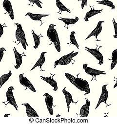 ベクトル, 背景, 繰り返し, ワタリガラス, からす, 白, seamless, 黒, パターン, 鳥