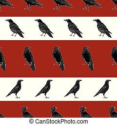 ベクトル, 背景, 繰り返し, ワタリガラス, からす, 赤い白, seamless, 黒, パターン, ストライプ, 鳥