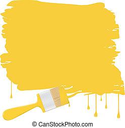 ベクトル, 背景, 黄色, ペイントブラシ
