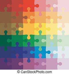 ベクトル, 背景, puzzle., ジグソーパズル, 色, イラスト