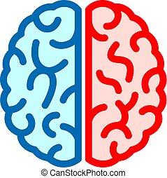 ベクトル, 脳, 権利, アイコン, 左
