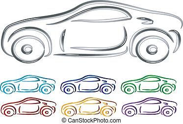 ベクトル, 自動車, デザインを設定しなさい, 3d