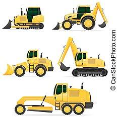 ベクトル, 自動車, 仕事, イラスト, 装置, 建設