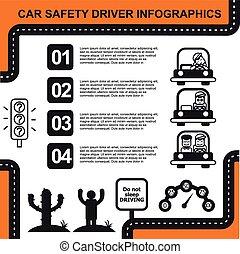 ベクトル, 自動車, 運転手, チャート, イラスト, infographic, 安全
