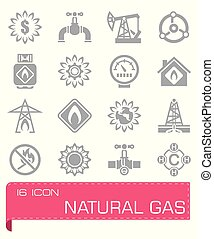ベクトル, 自然, セット, ガス, アイコン