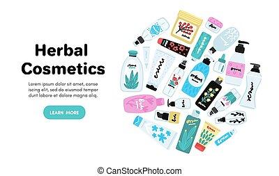 ベクトル, 自然, 多数, cosmetics., ジャー, 美しさ, bottles., オンライン 店, 皮膚, care., 化粧品, 美顔術, products.