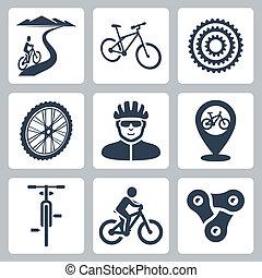 ベクトル, 自転車に乗ること, セット, サイクリング, アイコン