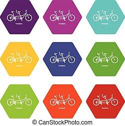 ベクトル, 自転車, アイコン, タンデム, 9, セット