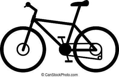 ベクトル, 自転車, イラスト, 道, 道, 山, 隔離された