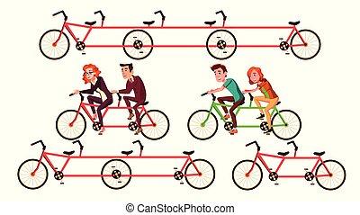 ベクトル, 自転車, タンデム, 特徴, 乗馬, セット