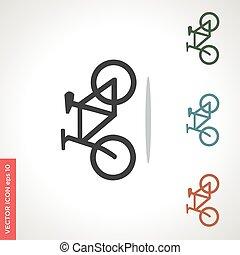 ベクトル, 自転車, 白, アイコン, 隔離された, 背景