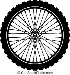 ベクトル, 自転車, 車輪, 黒, シルエット