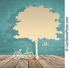 ベクトル, 自転車, illustration., 抽象的, 木。, 背景, 下に