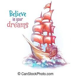 ベクトル, 船, 帆, 海, イラスト