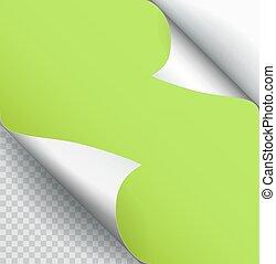 ベクトル, 色, ページ, isolated., ペーパー, 影, カール