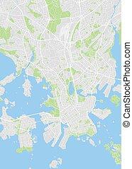 ベクトル, 色, 計画, 都市, イラスト, 地図, 詳しい, ヘルシンキ