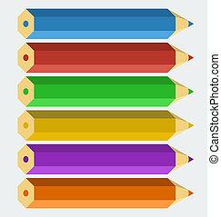 ベクトル, 色, 鉛筆, 中に, 'flat', スタイル