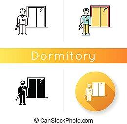 ベクトル, 色, 黒, ホテル, 寄宿舎, security., guard., 寮, 線である, 夜, janitor...