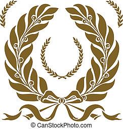ベクトル, 花輪, セット