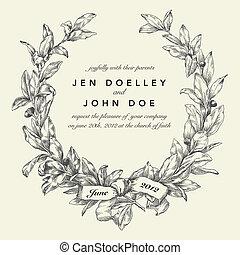 ベクトル, 花輪, 背景, 結婚式