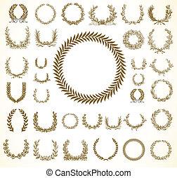 ベクトル, 花輪, laural