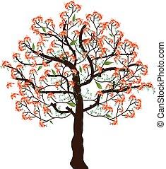 ベクトル, 花, イラスト, 木。