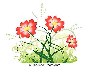 ベクトル, 花, イラスト, 赤