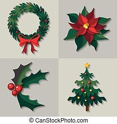 ベクトル, 花, セット, decorations., クリスマス
