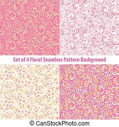 ベクトル, 花, ピンク, 上昇, 背景, セット, パターン, borders., roses., seamless