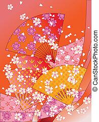 ベクトル, 花, ファン, リボン, 日本語