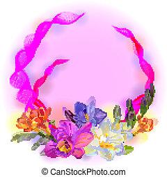 ベクトル, 花, フリージア, カード