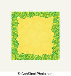 ベクトル, 花, 招待, 緑の葉, フレーム
