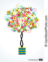 ベクトル, 花, 木
