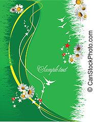 ベクトル, 花, 緑, イラスト, バックグラウンド。