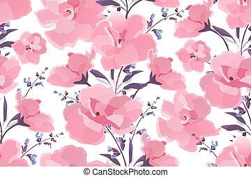 ベクトル, 芸術, すみれ, pattern., seamless, 花, 花