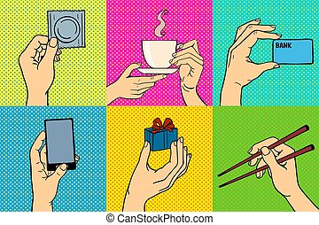 ベクトル, 芸術, illustration., ポンとはじけなさい, 手